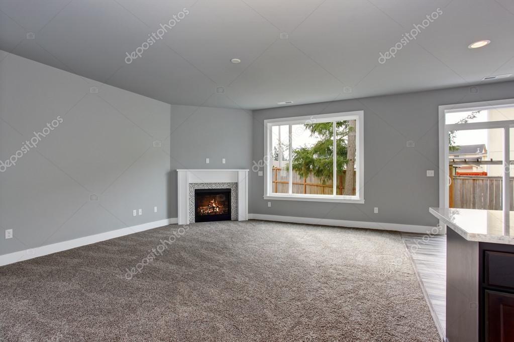 Interni moderni e completamente grigio della casa — Foto Stock ...