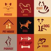 Pet symbol collection, vintage emblems set — Stock Vector
