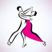 Dancing couple, outlined vector sketch — Stock Vector