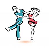 Jive dancing couple, outlined vector sketch — Stock Vector