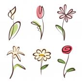 Outlined hand drawn flower collection, design elements set — Stock Vector