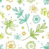 Abstract seamless background, flowers and insects hand drawn pat — Stock Vector