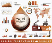 Oil and gas industry infographics, extraction, processing and tr — Stock Vector