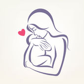Mom and baby stylized vector symbol, outlined sketch — Stock Vector