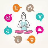 healthcare and fitness infographics, harmonic life style, yoga  — Stock Vector