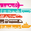 World travel by different kinds of transport, landmarks set — Stock Vector #69051851