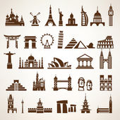 Big set of world landmarks and historic buildings vector silhoue — Stock Vector