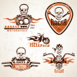 Set of vintage motorcycle labels, badges and design elements wit — Stock Vector #71239645