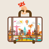 Hand holding luggage, travel around the world concept — Stock Vector