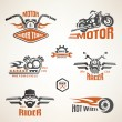 Set of vintage motorcycle labels, badges and design elements  — Stock Vector #71346811