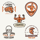 Set of fighting club emblems, MMA, boxing labels and bages — 图库矢量图片