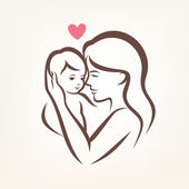 Mother and son stylized vector silhouette, outlined sketch of mo — Stockvector