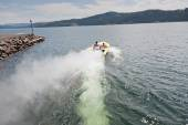 Speedboat Heading out into the Lake — Stock Photo
