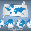 World Map and Globe Detail Vector Illustration, EPS 10. — 图库矢量图片 #52008315