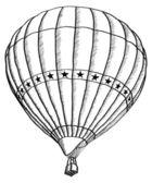 Sıcak hava balonu vektör eskiz hattı, eps 10 doodle. — Stok Vektör