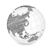 Mundo mapa terra globo vetor linha esboçada acima illustrator, eps 10. — Vetorial Stock