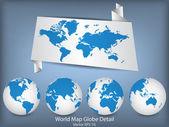 World Map and Globe Detail Vector Illustration, EPS 10. — Stock Vector