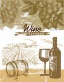 Hand drawn wine — Stock Vector