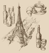 Hand drawn Paris — Stock Vector