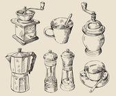 Hand drawn kitchen set — Stock Vector