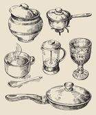 Ručně kreslenou kuchyňské sady — Stock vektor