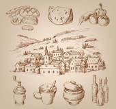 Hand drawn village — Stock Vector