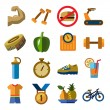 Fitness icons — Stock Vector #62889587