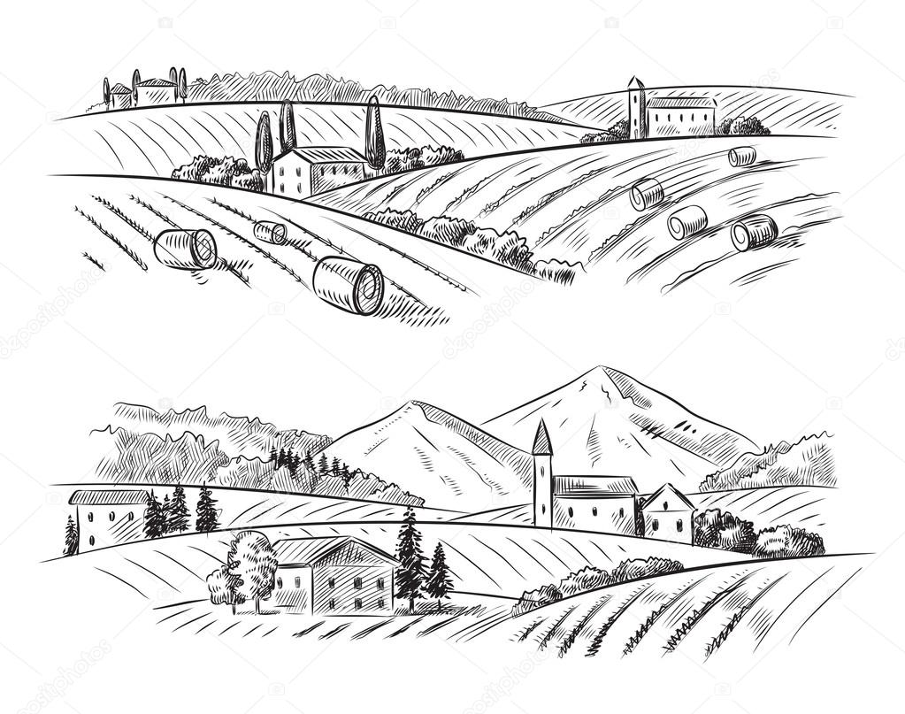 Line Art Village : Vector village sketch and nature — stock bioraven