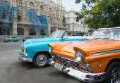 Cars riding on the city street — Foto Stock