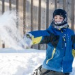 Child Boy Playing with Snow, Throwing Snow Balls — Stock Photo #64389175
