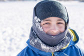 Facial Close Up of Child in the Winter Snow — Stock Photo