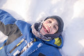 Child Boy Having Fun in the Canadian Winter — Stock Photo