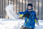 Child Boy Playing with Snow, Throwing Snow Balls — Stock Photo