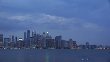 Toronto Skyline seen at twilight from the Centre Island — Stock Video