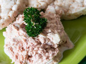 Diabetic person snack, tuna salad and rice cakes — Stock Photo