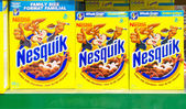 Nestle Nesquik Cereal in a Store Shelf — Stock Photo