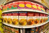 Campbells Soup in a Store Shelf — Stock Photo