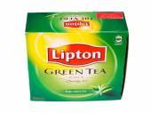 Green Tea Lipton Tea in White Background — Stock Photo