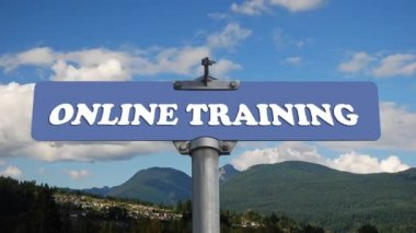 Online training road sign with flowing clouds — Stock Video
