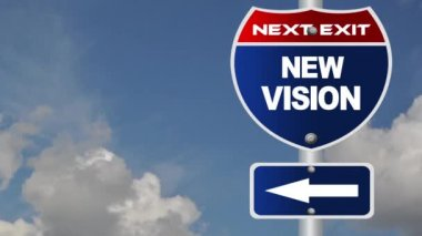 New vision road sign with flowing clouds — Stock Video