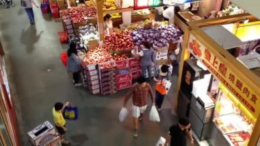 Top shot of customer buying foods at Chinese Supermarket — Stock Video