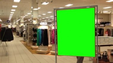 Green billboard for your ad inside Coquitlam Center shopping mall  in Coquitlam BC Canada. — Stock Video