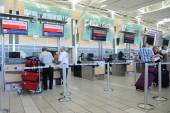 Air Canada registration desk at YVR airport  — Stockfoto