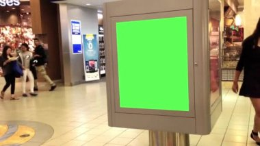 Green billboard for your ad inside Metropolis at Metrotown — Stock Video