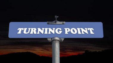 Turning point road sign — Stock Video