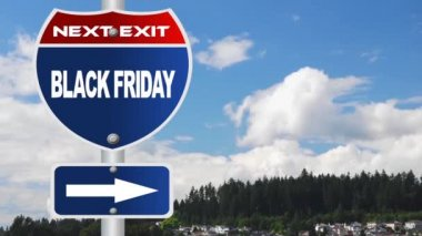 Black friday road sign with time lapse cloud background — Wideo stockowe