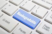 Biodegradable key on keyboard — Stock Photo