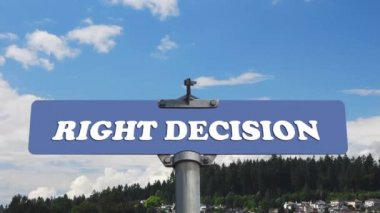 Right decision road sign with flowing clouds — Stock Video
