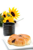 Coffee with red beans bread snack  — Stok fotoğraf