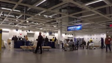 One side of exchanges and returns department inside Ikea store — Stock Video